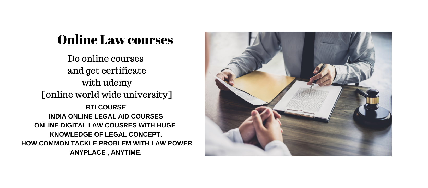 ONLINE LAW COURSES WITH CERTIFICATE BY ONLINE WORLD WIDE UNIVERSITY [UDEMY]