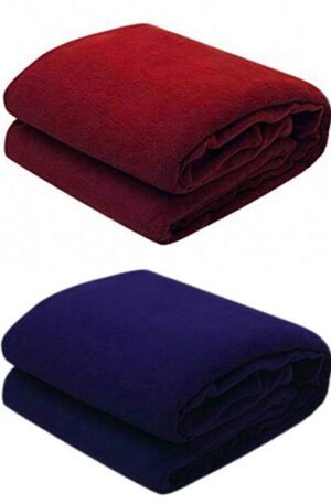 Shiv gori trading company from Panipat – Polyester 200 TC Blanket (Double_Maroon Navy)